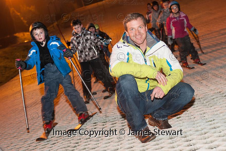 Scottish Skier Alain Baxter takes the Polmonthill Ski Centre's Race Training Team through their paces.