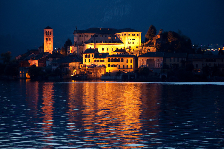 The island of San Giulio sits just offshore from the quaint village of Orta San Giulio on Lago d'Orta, Italy