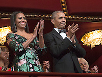 United States President Barack Obama, First Lady Michelle Obama and Kennedy Center Honorees at the beginning of the show at the Kennedy Center, December 4, 2016, Washington, DC.  The 2016 honorees are: Argentine pianist Martha Argerich; rock band the Eagles; screen and stage actor Al Pacino; gospel and blues singer Mavis Staples; and musician James Taylor. Photo Credit: Aude Guerrucci/CNP/AdMedia
