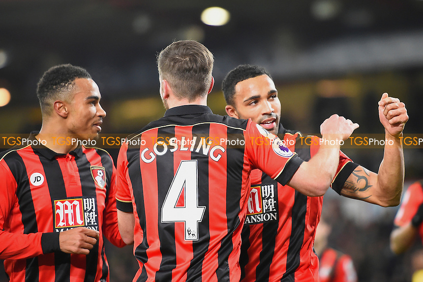 Callum Wilson of AFC Bournemouth right celebrates after scoring the second goal from the penalty spot during AFC Bournemouth vs Arsenal, Premier League Football at the Vitality Stadium on 3rd January 2017