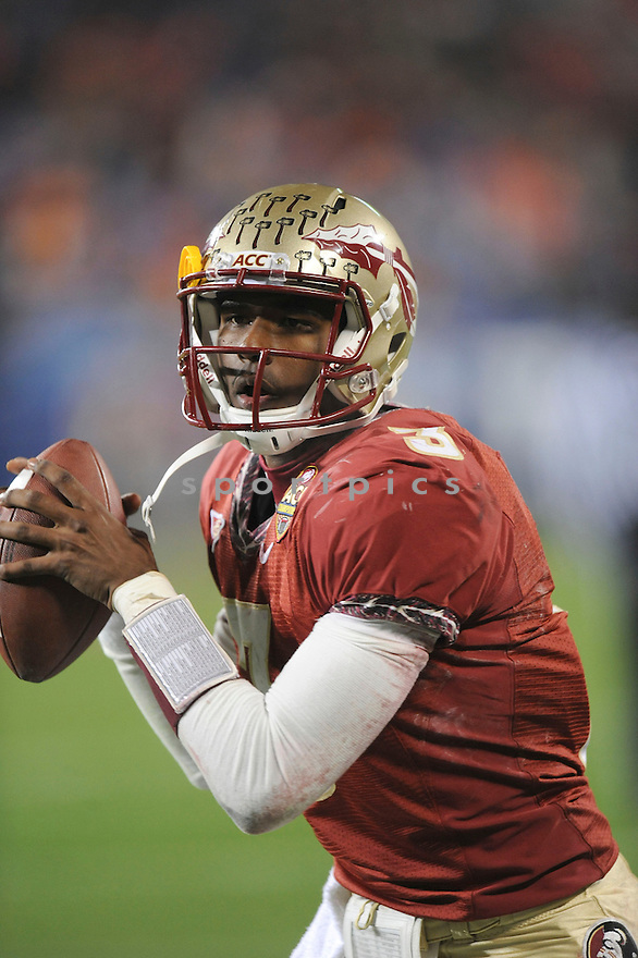 EJ MANUEL, of the Florida State Seminoles in action during the Seminoles game against the Virginia Tech Hokies on December 04, 2010 at Bank of America Stadiumin Charlotte, North Carolina..Virginia Tech Hokies  beats Florida State Seminoles 44-33 to win the ACC Championship