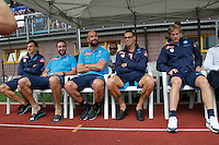 Vlad Chiriches  Gonzalo Higuain  Pepe Reina Marek Hamsik  Ivan Strinic durante l'amichevole precampionate tra Napoli e Cittadella   Dimaro 29 Luglio 2015<br /> <br /> Friendly soccer match between   SSC Napoli  in Dimaro Italy July 28, 2015