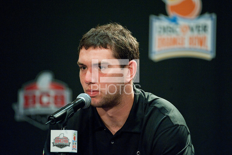 FORT LAUDERDALE, FL--Andrew Luck answers questions from the media during the Offense Press Conference at the Marriott Harbor Beach in Fort Lauderdale, Florida.