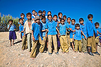 Cheeky school kids trying to get in the photo in rural India.<br /> (Photo by Matt Considine - Images of Asia Collection)