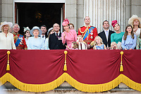 Camilla Duchess of Corwall, Prince Charles, Queen, Prince Phillip, Camilla Duchess of Cornwall, Prince Charles, Queen, Prince Phillip, Catherine Duchess of Cambridge, Princess Charlotte, Prince George, Prince William, Savannah and Isla Phillips, Peter Phillips<br /> on the balcony of Buckingham Palace during Trooping the Colour on The Mall, London. <br /> <br /> <br /> &copy;Ash Knotek  D3283  17/06/2017
