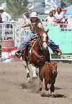 Zayne Dishion competes in the Senior Boys Breakaway Roping event at the Fallon Junior Rodeo.  Photo by Tom Smedes.