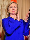 United States Secretary of State Hillary Rodham Clinton applauds during a reception in honor Foreign Minister S.M. Krishna of India at the State Department  in Washington, D.C. on Thursday, June 3, 2010..Credit: Ron Sachs - Pool via CNP