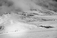 Black and white photo of Climbing down Cotopaxi Volcano glacier, Cotopaxi National Park, Cotopaxi Province, Ecuador