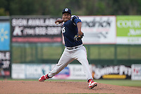 Lakewood BlueClaws starting pitcher Jose Taveras (54) in action against the Kannapolis Intimidators at Kannapolis Intimidators Stadium on May 9, 2016 in Kannapolis, North Carolina.  The BlueClaws defeated the Intimidators 4-1.  (Brian Westerholt/Four Seam Images)