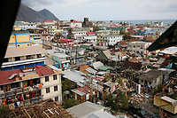 A view of Roseau, the capital of the Caribbean island of Dominica, seen from the window of a government building the day after Hurricane Maria struck.