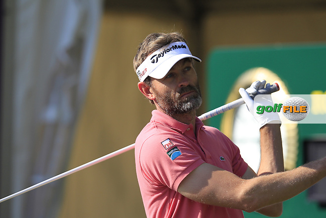 Raphael JACQUELIN (FRA) tees off the 10th tee during Thursday's Round 2 of the 2015 Commercial Bank Qatar Masters held at Doha Golf Club, Doha, Qatar.: Picture Eoin Clarke, www.golffile.ie: 1/22/2015