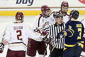 Colin Sullivan (BC - 2), Brendan Silk (BC - 9), Bob Bernard, Isaac MacLeod (BC - 7), Kyle Bigos (Merrimack - 3) - The Boston College Eagles defeated the visiting Merrimack College Warriors 4-3 on Friday, November 16, 2012, at Kelley Rink in Conte Forum in Chestnut Hill, Massachusetts.