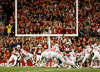 Ohio State Buckeyes place kicker Tyler Durbin (92) hits the game-tying field goal to force overtime during the fourth quarter of the NCAA football game against the Wisconsin Badgers at Camp Randall Stadium in Madison, Wisconsin on Oct. 15, 2016. Ohio State won 30-23. (Adam Cairns / The Columbus Dispatch)