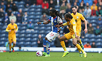 Blackburn Rovers' Marvin Emnes shields the ball from Preston North End's Daniel Johnson<br /> <br /> Photographer Stephen White/CameraSport<br /> <br /> The EFL Sky Bet Championship - Blackburn Rovers v Preston North End - Saturday 18th March 2017 - Ewood Park - Blackburn<br /> <br /> World Copyright &copy; 2017 CameraSport. All rights reserved. 43 Linden Ave. Countesthorpe. Leicester. England. LE8 5PG - Tel: +44 (0) 116 277 4147 - admin@camerasport.com - www.camerasport.com