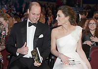 10 February 2019 - London, UK - Prince William Duke of Cambridge and Kate Duchess of Cambridge Katherine Catherine Middleton at the EE British Academy Film Awards 2019 at The Royal Albert Hall. Photo Credit: ALPR/AdMedia