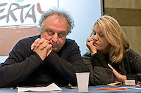 Rome, Italy 16th Janury 2016<br /> Paolo Cento secretary of the metropolitan area of Rome  with Senator Loredana De Petris of Left Ecology Freedom, during the assembly of the national party of  Left Ecology and Freedom.