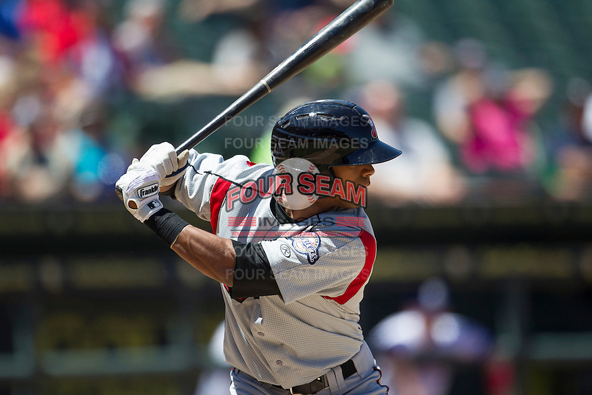 Nashville Sounds designated hitter Khris Davis (9) AAA against the Round Rock Express in the Pacific Coast League baseball game on May 5, 2013 at the Dell Diamond in Round Rock, Texas. Round Rock defeated Nashville 5-1. (Andrew Woolley/Four Seam Images).