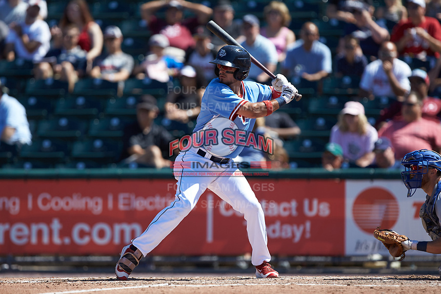 Herlis Rodriguez (6) of the Lehigh Valley Iron Pigs at bat against the Durham Bulls at Coca-Cola Park on July 30, 2017 in Allentown, Pennsylvania.  The Bulls defeated the IronPigs 8-2.  (Brian Westerholt/Four Seam Images)