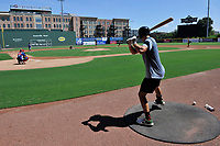 "Logan Davidson of the Oakland Athletics waits in the on-deck circle  in a ""Sandlot""-style game concluding a series of workouts with local MLB and MiLB players from around the Upstate region on Thursday June 25, 2020, at Fluor Field at the West End in Greenville, South Carolina. (Tom Priddy/Four Seam Images)"