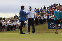 Russell Knox (SCO) being interviewed by Shane O'Donoghue after final round of the Dubai Duty Free Irish Open, Ballyliffin Golf Club, Ballyliffin, Co Donegal, Ireland. 08/07/2018<br /> Picture: Golffile   Thos Caffrey<br /> <br /> <br /> All photo usage must carry mandatory copyright credit (&copy; Golffile   Thos Caffrey)