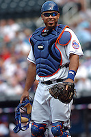 New York Mets catcher Ronny Paulino #5 during a game against the Milwakee Brewers at Citi Field on August 20, 2011 in Queens, NY.  Brewers defeated Mets 11-9.  Tomasso DeRosa/Four Seam Images