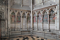 8 painted sibyls, 1506, in the blind arcade decorating the Chapel of St Eligius, the 1st radiating chapel on the South side, donated by Adrien de Henencourt, doyen of the chapter and master of the Puy, in 1492, in the Basilique Cathedrale Notre-Dame d'Amiens or Cathedral Basilica of Our Lady of Amiens, built 1220-70 in Gothic style, Amiens, Picardy, France. Amiens Cathedral was listed as a UNESCO World Heritage Site in 1981. Picture by Manuel Cohen