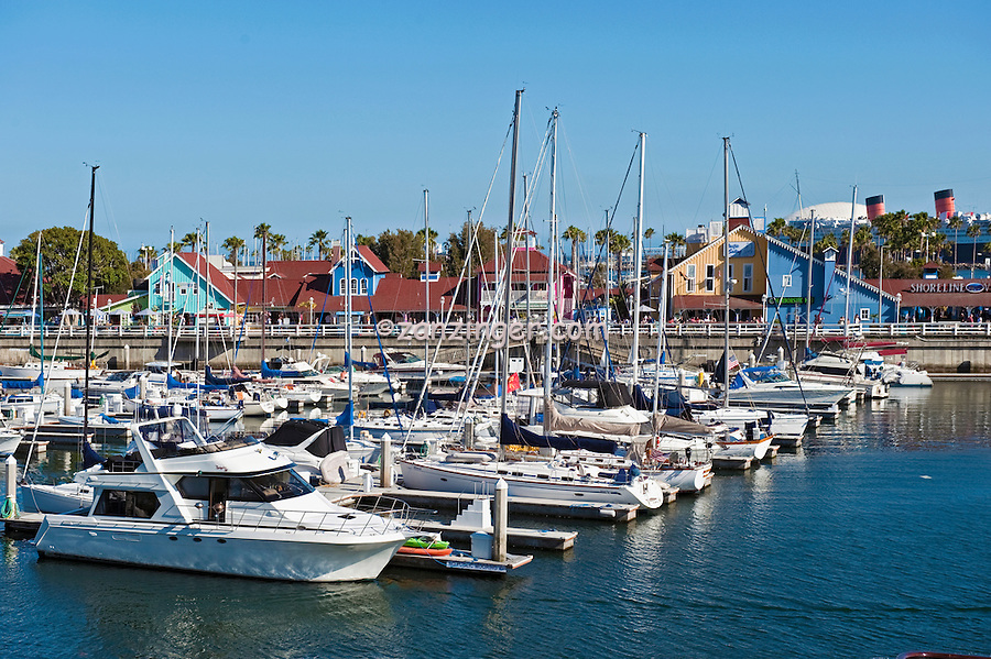 Long Beach, CA, Rainbow Harbor, Marina, Southern California, USA,