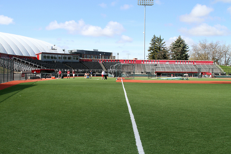 A view from right field towards the press box of Bailey-Brayton Field just prior to batting practice, the baseball home of the Washington State Cougars baseball team, on the campus of Washington State University in Pullman, Washington.