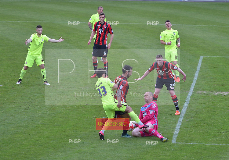 07/05/2016 Sky Bet League Two Morecambe v York City<br /> Barry Roche saves from Kenneth  McEvoy