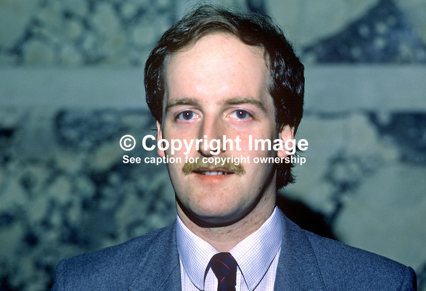 Tom Campbell, councillor, Alliance Party of N Ireland, Belfast City Council, UK, 19850512TC1..Copyright Image from Victor Patterson, 54 Dorchester Park, Belfast, UK, BT9 6RJ..Tel: +44 28 9066 1296.Mob: +44 7802 353836.Voicemail +44 20 8816 7153.Skype: victorpattersonbelfast.Email: victorpatterson@me.com.Email: victorpatterson@ireland.com (back-up)..IMPORTANT: If you wish to use this image or any other of my images please go to www.victorpatterson.com and click on the Terms & Conditions. Then contact me by email or phone with the reference number(s) of the image(s) concerned.