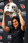 New intern for the Arizona Cardinals Dr. Jen Welter fields questions during a press conference at the teams training facility on July, 28th, 2015. (AP Photo/Gene Lower)