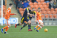 Blackpool's Jay Spearing under pressure from Oxford United's James Henry<br /> <br /> Photographer Kevin Barnes/CameraSport<br /> <br /> The EFL Sky Bet League One - Blackpool v Oxford United - Saturday 23rd February 2019 - Bloomfield Road - Blackpool<br /> <br /> World Copyright © 2019 CameraSport. All rights reserved. 43 Linden Ave. Countesthorpe. Leicester. England. LE8 5PG - Tel: +44 (0) 116 277 4147 - admin@camerasport.com - www.camerasport.com