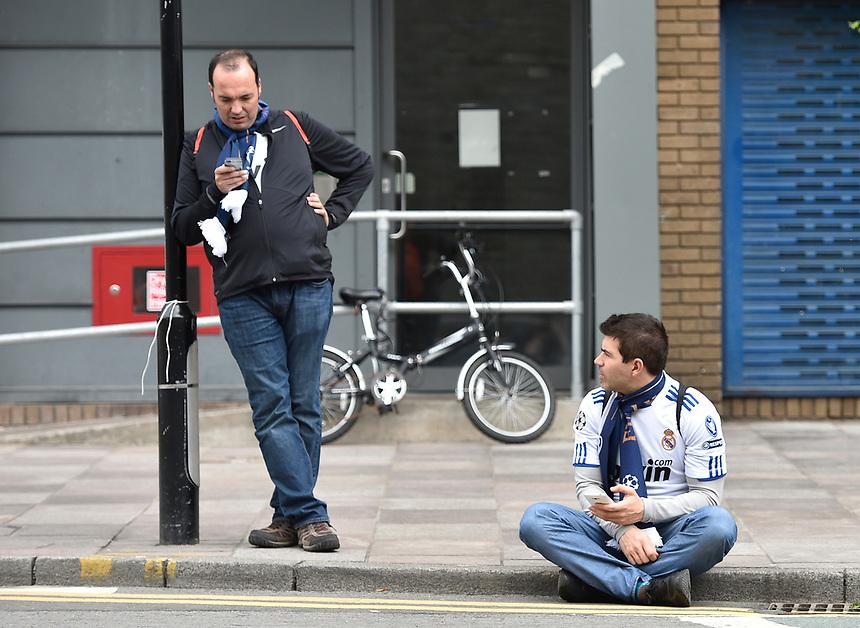 Real Madrid fans soak up the pre-match atmosphere <br /> <br /> Photographer Kevin Barnes/CameraSport<br /> <br /> UEFA Champions League Final - Juventus v Real Madrid - Saturday 3rd June 2017 - Principality Stadium - Cardiff<br />  <br /> World Copyright &copy; 2017 CameraSport. All rights reserved. 43 Linden Ave. Countesthorpe. Leicester. England. LE8 5PG - Tel: +44 (0) 116 277 4147 - admin@camerasport.com - www.camerasport.com