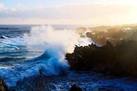 A wave crashes at Waianapanapa State Park in Hana, Maui, Hawaii.