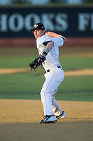 Jake Mueller (6) of the Wake Forest Demon Deacons makes a throw to first base during infield practice prior to the game against the Georgetown Hoyas at David F. Couch Ballpark on February 19, 2016 in Winston-Salem, North Carolina.  The Demon Deacons defeated the Hoyas 3-1.  (Brian Westerholt/Four Seam Images)