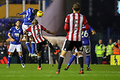 1st November 2017, St. Andrews Stadium, Birmingham, England; EFL Championship football, Birmingham City versus Brentford; Cheick Ndoye of Birmingham City gets his head to the ball