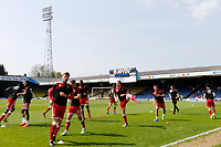Milton Keynes Dons warm up during the Sky Bet League 1 match between Southend United and MK Dons at Roots Hall, Southend, England on 21 April 2018. Photo by Carlton Myrie.