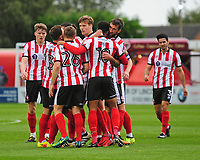 Lincoln City's Michael Bostwick celebrates scoring the opening goal with team mates<br /> <br /> Photographer Andrew Vaughan/CameraSport<br /> <br /> The EFL Sky Bet League Two - Lincoln City v Chesterfield - Saturday 7th October 2017 - Sincil Bank - Lincoln<br /> <br /> World Copyright &copy; 2017 CameraSport. All rights reserved. 43 Linden Ave. Countesthorpe. Leicester. England. LE8 5PG - Tel: +44 (0) 116 277 4147 - admin@camerasport.com - www.camerasport.com