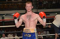 Jamie Robinson (blue shorts) defeats Radoslav Mitev during a Boxing Show at York Hall on 30th June 2018