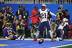 ATLANTA, GA - FEBRUARY 3: Duron Harmon #21 of the New England Patriots celebrates after breaking up an end zone pass intended for Brandin Cooks #12 of the Los Angeles Rams during the fourth quarter of Super Bowl LIII at Mercedes-Benz Stadium in Atlanta, Georgia on February 3, 2019. (Staff Photo By Christopher Evans/MediaNews Group/Boston Herald)