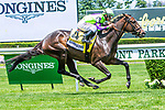 JUNE 08, 2019 : Rushing Falls, with Javier Castellano , wins the Just A Game, at Belmont Park, in Elmont, NY, June 8, 2019.  Sue Kawczynski_ESW_CSM