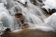 Birch Island Brook Falls along Birch Island Brook in Lincoln, New Hampshire USA during the winter months