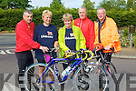 BYCLES: Making sure their bikes were ready on Saturday morning for the Life Boat Charity Cycle from O'Donnells Bar & Restaurant, Mounthawk, Tralee L-r: John Fitzgerald, Lillian Holmes, Helen harrower, Pierce and Paul Keogh..................................... ....