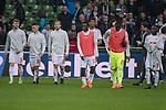 15.04.2018, Weser Stadion, Bremen, GER, 1.FBL, Werder Bremen vs RB Leibzig, im Bild<br /> <br /> entt&auml;uscht / enttaeuscht / traurig / <br /> Timo Werner (RB Leipzig #11)<br /> Diego Demme (RB Leipzig #31)<br /> Terrence Boyd (RB Leipzig #18)<br /> Bruma (RB Leipzig #17)<br /> Diego Demme (RB Leipzig #31)<br /> Yvon Mvogo (RB Leipzig #28)<br /> <br /> Foto &copy; nordphoto / Kokenge