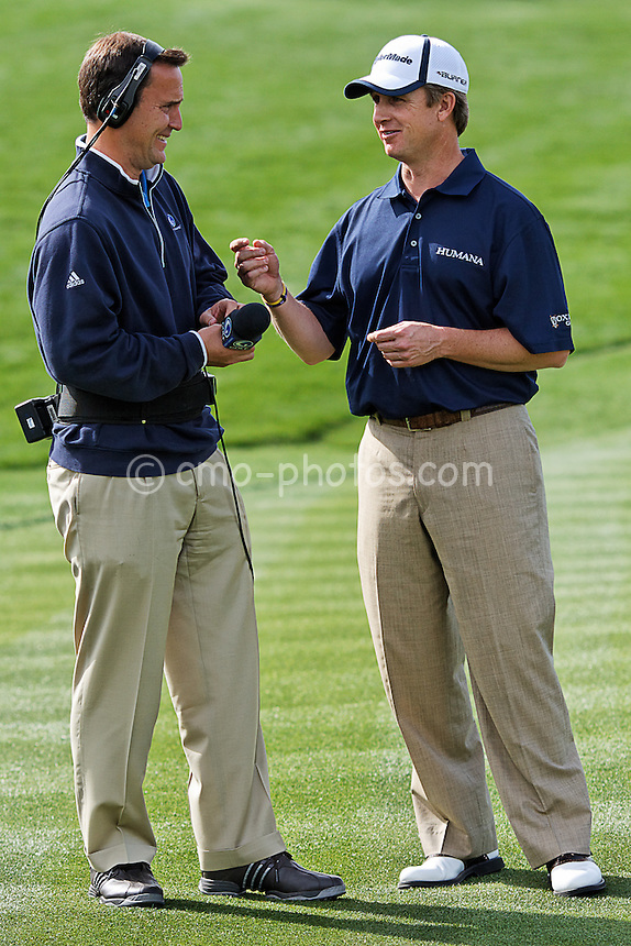 Feb 20, 2008; Marana, AZ, USA; David Toms jokes with The Golf Channel's Steve Sands after Toms' 2 and 1 victory over Zach Johnson (not pictured) at the Accenture Match Play Championship at the Gallery Golf Club.