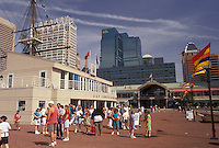 AJ3418, Baltimore, Inner Harbor, Maryland, People walking along Harborplace on the Inner Harbor in downtown Baltimore in the state of Maryland,