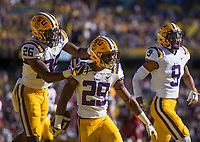 NWA Democrat-Gazette/BEN GOFF @NWABENGOFF<br /> John Battle (26), LSU strong safety, and Andraez Williams (29), LSU cornerback, celebrate after Williams intercepted a pass intended for Jonathan Nance, Arkansas wide receiver, in the end zone in the fourth quarter Saturday, Nov. 11, 2017 at Tiger Stadium in Baton Rouge, La.