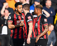 Joshua King of AFC Bournemouth left is congratulated by Jordon Ibe of AFC Bournemouth after scoring the first goal during AFC Bournemouth vs Wolverhampton Wanderers, Premier League Football at the Vitality Stadium on 23rd February 2019