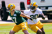 Green Bay Packers linebacker Jake Ryan (47) and tight end Martellus Bennett (80) during an OTA on June 1, 2017 at Clark Hinkle Field in Green Bay, Wisconsin. (Brad Krause/Krause Sports Photography)