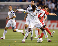 LA Galaxy forward Edson Buddle (14) holds on to the ball. The LA Galaxy and Toronto FC played to a 0-0 draw at Home Depot Center stadium in Carson, California on Saturday May 15, 2010.  .